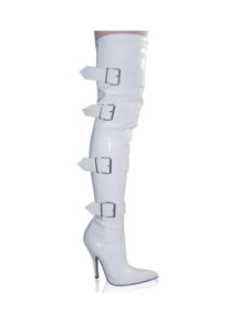 4 34 High Heel Buckles White Patent Thigh High Boots