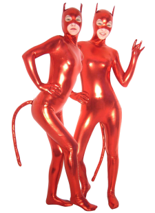 Red Shiny Metallic Catsuit with Mask and Tail Halloween Cosplay costume