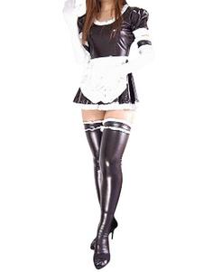 Image of Catsuit da cameriera per adulti in gomma metallizzata bicolore per donne Carnevale