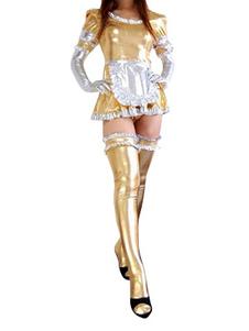 Image of Abbigliamento metallizzato bicolore senza piedini da cameriera in gomma metallizzata per donne  Carnevale