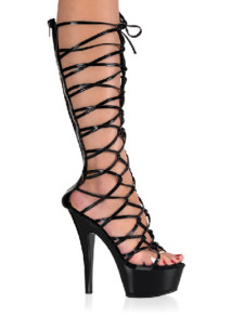 High Heel Black PU Sexy Straps Platform Sandals