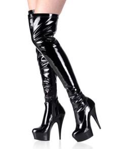 High Heel Black Patent Thigh High Sexy Boots