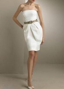 Milanoo UK  Romantic Strapless Satin Mini Wedding Dress