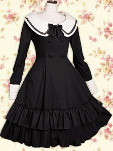 Robe de lolita classique Ecolière Manches Longues Jabots Coton Noire