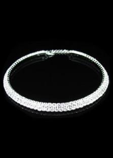 Image of 2 Row Rhinestone Wedding Bridal Necklace