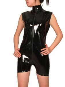 Image of Abbigliamento PVC nero corto unisex con cerniera lampo Carnevale