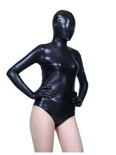 Image of Vestito metallico per adulti tinta unita nera tuta in gomma unisex  Carnevale