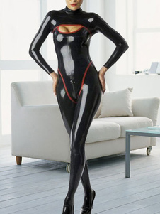Black Long Sleeves Latex Catwoman Catsuitt Halloween Cosplay costume