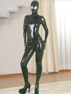 Halloween Black Full Body Latex Catsuit with Open Eyes and Zippered Open Crotch