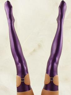 Bas long attrayant violet en latex Halloween
