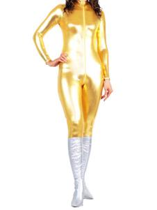 Image of Abbigliamento oro metallizzato per adulti con calzamaglia senza guanti in gomma per donne  Carnevale