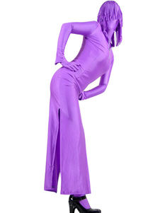 Halloween Purple Two Piece Lycra Zentai Suit With Dress And Pants