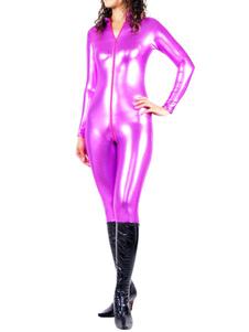 Image of Abbigliamento roso metallizzato per adulti con calzamaglia senza guanti in gomma per donne  Carnevale