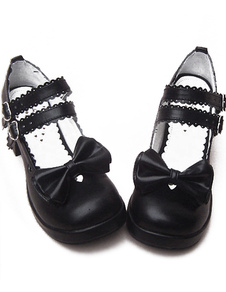 black-chunky-heels-shoes-straps-bow-buckles-hollow-heart