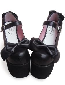 Milanoo UK  4 7/10'' High Heel 3 1/2'' Platform Black PU Detachable Bow Lolita Shoes