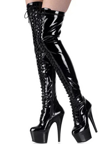 High Heel Black Womens Thigh High Patent Leather Sexy Boots