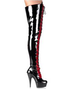 Black And Red Thigh High 5 710 Heel Patent Leather Sexy Boots