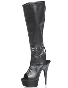 Black 5 710 High Heel Knee High Open Toe Patent Leather Sexy Mid Calf Boots