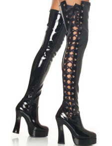 Black 4 110 High Heel Thigh High Patent Leather Sexy Boots