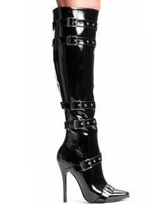 Image of Black Knee High 4 1 / 10''Pelle Tacco Stivali Sexy Knee-High