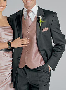 Handsome Black Single Breasted Button Lapel Worsted Groom Wedding Tuxedo
