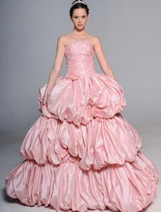Chic robe mariage boule rose bustier en taffetas avec perles à traîne