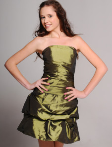 Cocktail Dress Green Aline Strapless Taffeta Cocktail Dress
