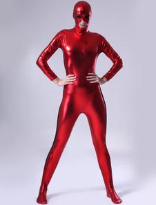 Zentai moderno de brillo metálico de color rojo Halloween