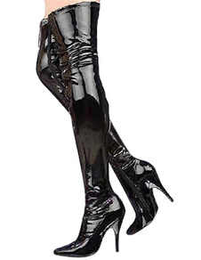 Black Non Platform Patent Leather Thigh High Boots