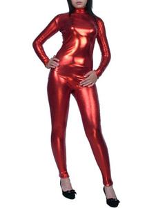 Image of Abbigliamento metallizzato per adulti tinta unita rossa tuta con calzamaglia senza guanti in gomma per donne  Carnevale