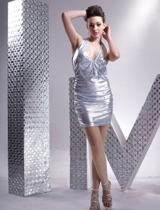 White Halter Backless Lycra Club Wear Mini Dress