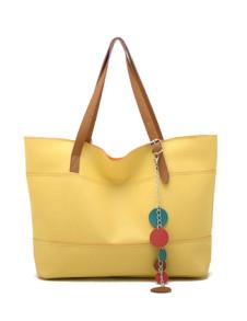 461530cm Fashion Yellow Simple Sweet PU Womens Handbag