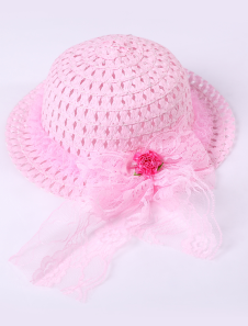 Cute Pink Weave Lace Hat Girls Barbie Costumes