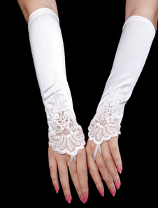 Luxury Beige White Satin Beaded Sequin Wedding Gloves For Brides