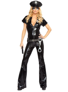 Attractive Black Acrylic PU Army Girl Costume
