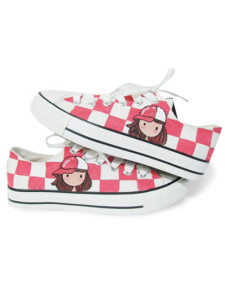 cute-red-white-plaid-girl-doodling-canvas-womens-sneakers