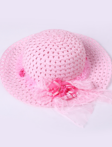 Sweet Pink Weave Lace Hat Girls Barbie Costumes