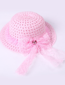Special Pink Lace Trim Weaved Hat Girls Barbie Costumes