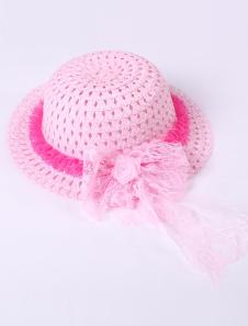 Cute Pink Lace Trim Weaved Hat Girls Barbie Costumes