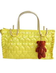 Cute 381328cm Yellow PU Leather Womens Tote Handbag