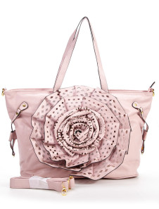 Pink Flower PU 39*18*30cm Womens Shoulder Bag