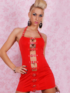 Luxury Red Acrylic Spandex Halter Womens Club Dress