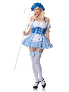 Halloween French Maid Costume Blue Sexy Ruffle Mini Dress Maid Costume