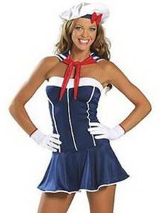 Milanoo UK  Unique Blue 82% Spandex 18% Nylon Womens Sexy Maid Costume