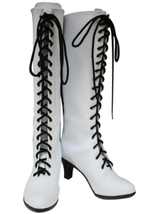 Kuroshitsuji Angela White Faux Leather 3 12 High Heel LaceUp Cosplay Shoes