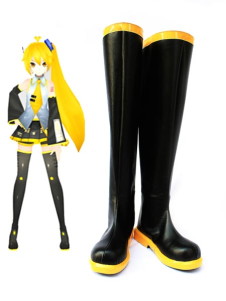 Vocaloid Akita Neru Black Faux Leather 1 15 High Heel Cosplay Shoes