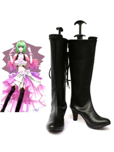 Vocaloid Gumi Black Faux Leather 2 34 High Heel Cosplay Shoes