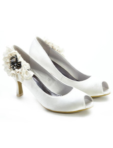 Romantic Ivory Satin Wedding Shoes