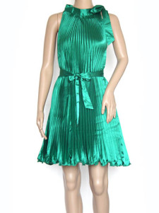 Milanoo UK  Green Silk Like Satin Sleeveless Pleated Womens Summer Dresses
