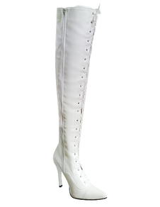 Fashion White PU Patent Leather 4 310 High Heel 35 Platform Womens Sexy Boots